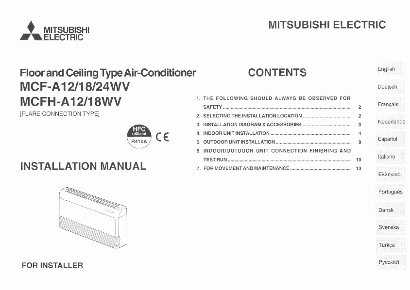 mitsubishi mcf a12 18 24wv mcfh a12 18wv floor mounted air conditioner installation manual. Black Bedroom Furniture Sets. Home Design Ideas