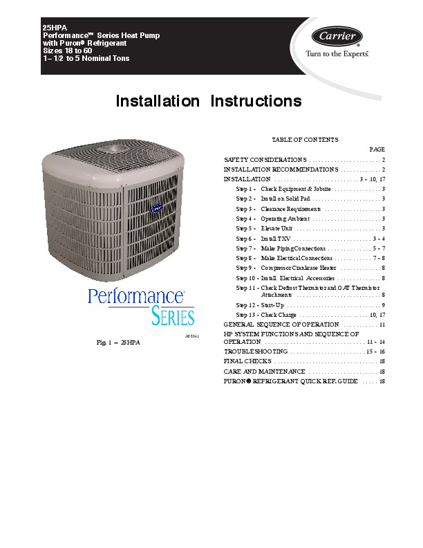 carrier air conditioner installation manual