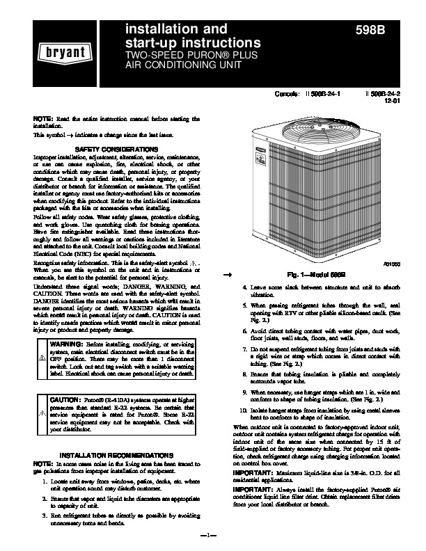 carrier bryant 598b 24 2 heat air conditioner manual rh needmanual com bryant air conditioner owner's manual bryant air conditioner owner's manual