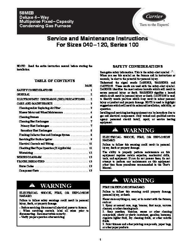Carrier Weathermaker 8000 repair manual Switches