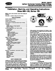 Carrier 58UHV 6SI Gas Furnace Owners Manual page 1