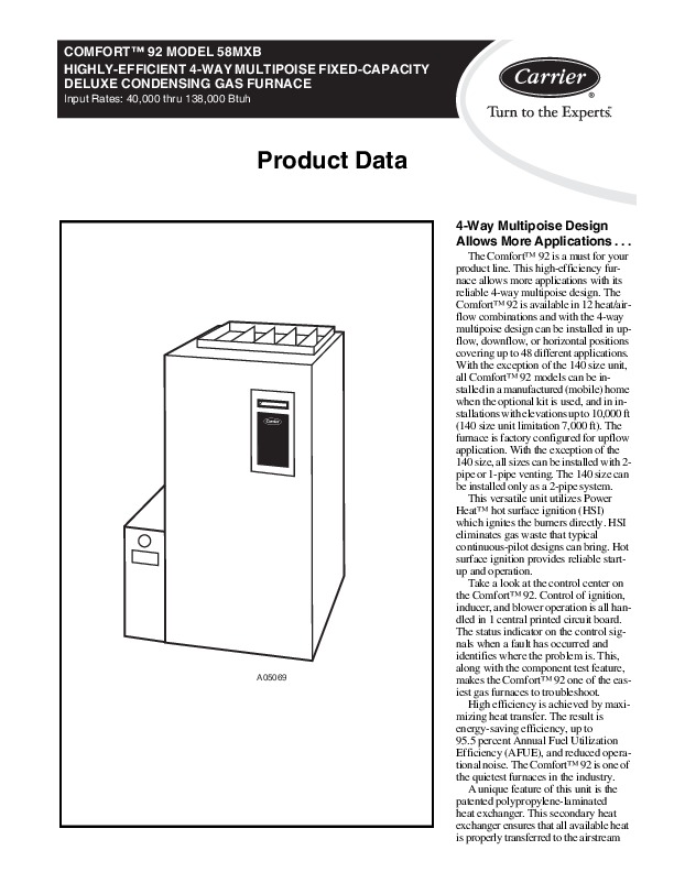 carrier 58mxb 1pdreva gas furnace owners manual